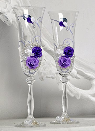 Wedding Champagne |Toasting Flutes for party | Church wedding |Birthday table decorations |bridal table decorations |Glasses for His and Hers |Wedding décor ideas (violet with flowers, clear) set of 2 (Violet Glass Crystal)