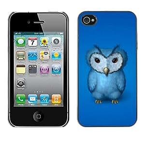 Caucho caso de Shell duro de la cubierta de accesorios de protección BY RAYDREAMMM - Apple iPhone 4 / 4S - Blue Owl Furry Baby Bird Grumpy Drawing Art