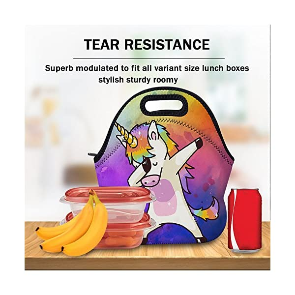 AOTIGO Dab Unicorn Rainbow Lunch Bag Insulated Neoprene Lunch Box Waterproof Tote Bag with Zipper for Kids, Boys, Girls… 5