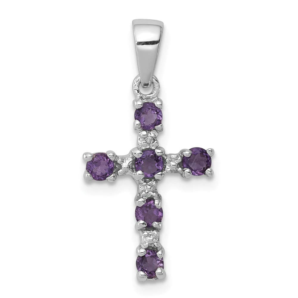 FB Jewels Solid 925 Sterling Silver Rhodium Amethyst and Diamond Cro925 Sterling Silver Pendant