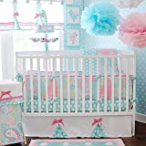 Aqua 3-piece Crib Bedding Set, Mix Of Pretty Polka Dots Scattered Across The Sheets With Paisley On The Comforter In Baby Pink
