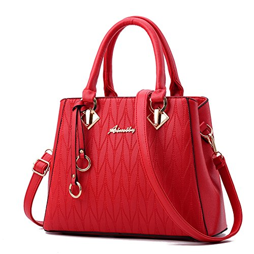 (G-AVERIL)Borsa a Mano da Donna in PU Pelle Designer Top-Handle Borsa Per Le Donne Vino rosso