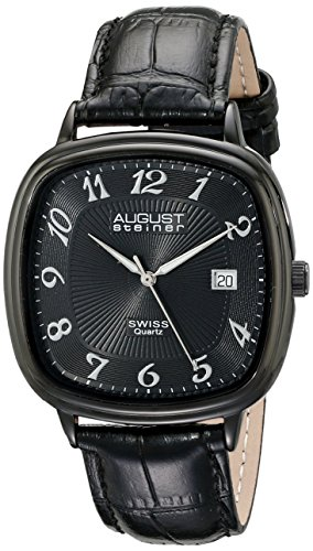 August-Steiner-Mens-AS8155BK-Black-Swiss-Quartz-Watch-with-Black-Dial-and-Black-Calfskin-Leather-Strap