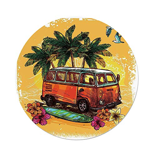 iPrint Polyester Round Tablecloth,Surf Decor,Hippie Classic Old Bus Surfboard Freedom Holiday Exotic Life Sketch Style Art,Red Green Orange,Dining Room Kitchen Picnic Table Cloth Cover Outdoor Indo