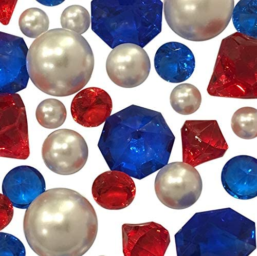 Amazon Com 100 Floating No Hole Red White Blue Pearls And Gems