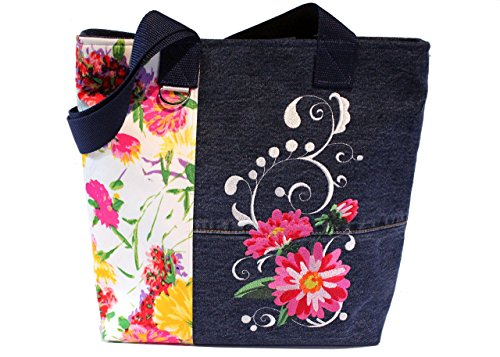 Tote Bag- 'Summer Garden'- A recycled denim, embroidered, lined totebag. Eco-Friendly handbags.