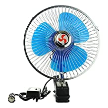 Brighome 8 inch Car Oscillating Fan Automobile Car Fan Vehicle Cooling Fan With Clip Cigarette Lighter Plug Black