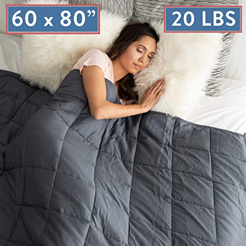 Cheap Weighted Blanket 20 LBS Queen Size Anxiety Relief Thick Heavy Weight Calming Blankets Lap Pad - Full Size Big Cotton Bed Blanket For Adults and Kids With Glass Beads - Large Grey 60 x80 INCH Black Friday & Cyber Monday 2019