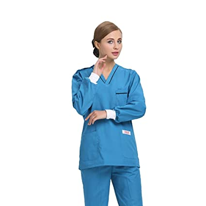 OPPP Ropa médica Lavado médico quirófano Hospital poliéster algodón Mate Manga Larga Traje de Trabajo Dividido