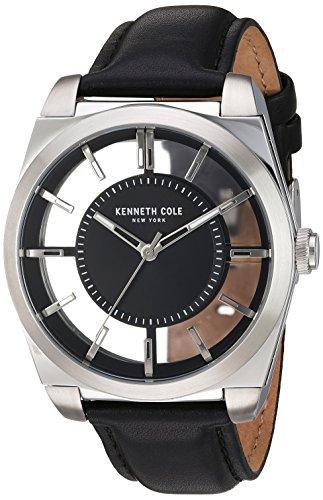 (Kenneth Cole New York Men's Transparency Stainless Steel Japanese-Quartz Watch with Leather Calfskin Strap, Black, 20 (Model: 10027837))