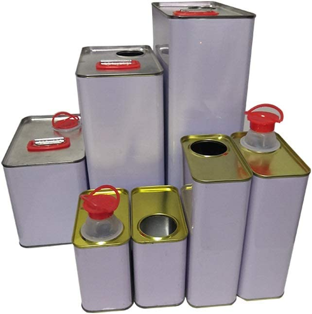 0.5L 4-Pack, Tight Seal Cap Empty Quart Paint Cans Gallon Metal New Unused Oil Bucket w//Tight Seal Pour Spout//Screwed on Cap//Press-to-Open Cap
