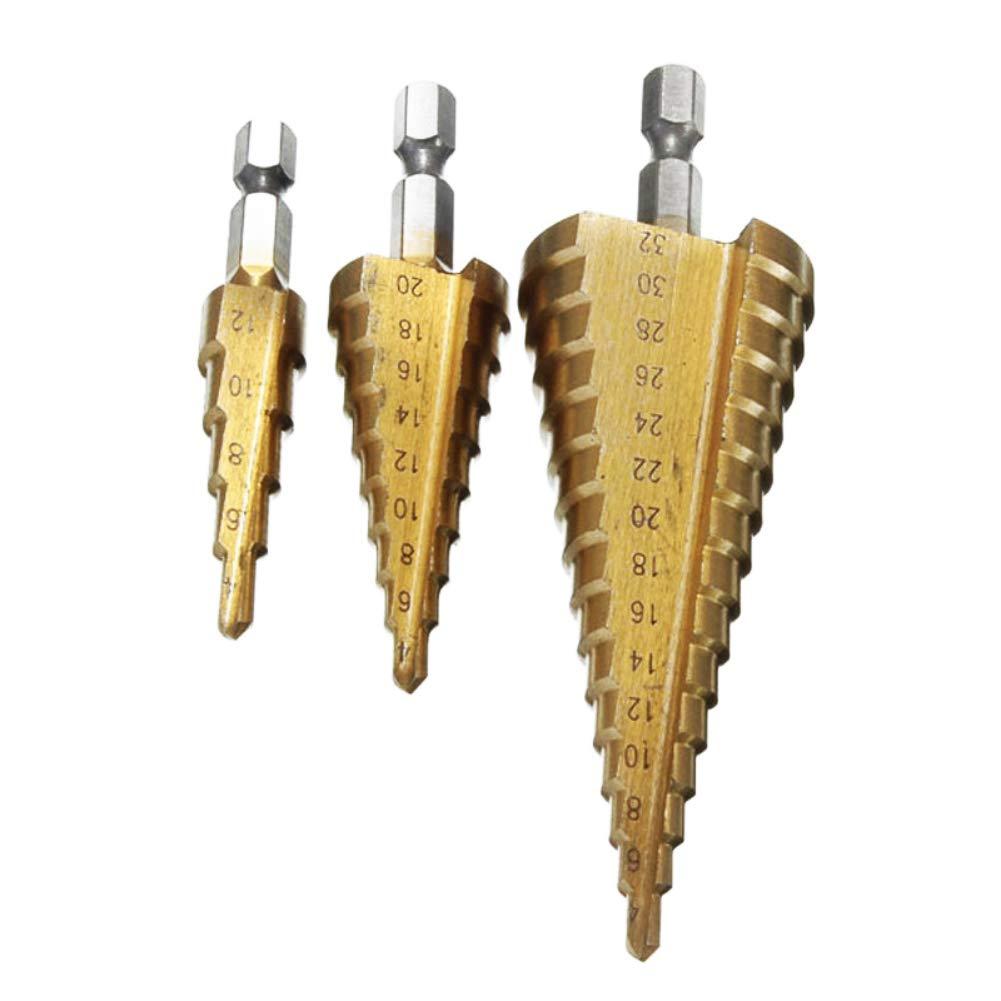 Bebliss Juego de brocas escalonadas de 3 piezas Cortador de orificios m/étricos de cono Hss 4-12//20 32mm Broca escalonada de v/ástago hexagonal 1//4