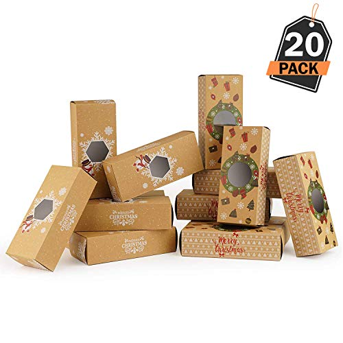 (20 Piece Christmas Gift-To-Go Boxes, Holds Christmas Treats and Gifts - For Holiday Gift)