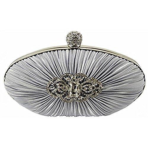 TrendStar Frauen Silberne Clutch Bag Damen Diamante Kristall Partei Hochzeit Prom Purse Silber 5