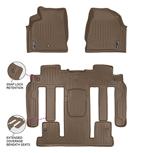 MAX LINER A1043/B1326 MAXFLOORMAT Floor Mats for Enclave/Acadia/Outlook Bucket Seat Complete Set (Tan)