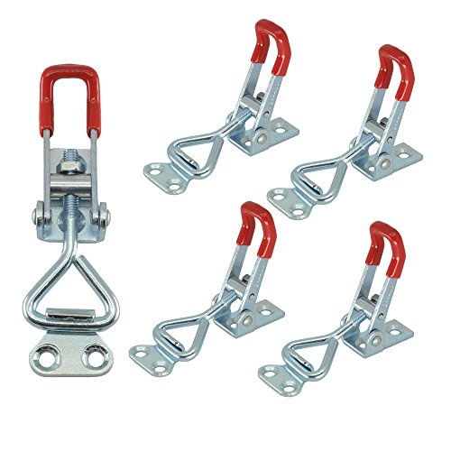 Latch Type (XRPAOWA 5PCS Latch Toggle Clamp 220Lbs 100Kg Holding Capacity 4001 Hand Tool Pull Action Latch Type Toggle Clamp 4001 Triangle Shaped Lever Latch)