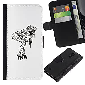 LECELL--Cuero de la tarjeta la carpeta del tirón Smartphone Slots Protección Holder For Samsung Galaxy S4 IV I9500 -- Pin Up Zombie --