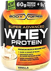 3 Jars-Body Fortress Super Advanced Whey Protein Powder Vanilla 2 Lbs (907 G) Each Jar