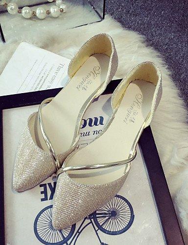PDX - Chaussures ballerines plates pour dame - Bouts pointus et semelles plates pour le bureau - Les fêtes et les soirées - Couleur argent - Dorées