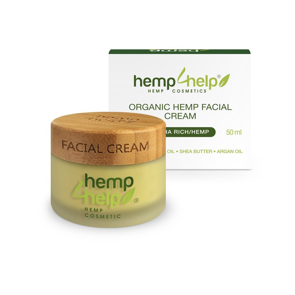Ultra Rich Organic Hemp Facial Cream with Hemp Extract, Jojoba Oil, Argan Oil, Shea Butter. Creamy Quick-Absorb to Heal Dry Skin, Blemishes for Youthful, Healthy Skin Hemp For Help s.r.o.