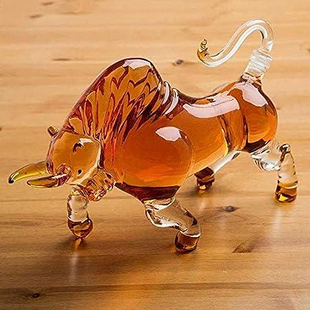 AGGF Decantador de Whisky de Vaca, Estilo Animal en Forma de Vaca, Bar casero, decantador de Whisky para Licor, Whisky escocés, Ron o Tequila 500 ml