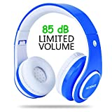 Kids Wireless Headphones,Votones 85dB Volume Limited Adjustable Bluetooth Headphones for Children,Lightweight Fold-able Over Ear Headset with Microphone for Computer Smart Phone Tablet (Blue)