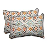 CC Outdoor Living Set of 2 Blue and Orange Southwest Oasis Outdoor Corded Throw Pillows 24.5''