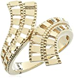 14k Yellow Gold Diamond Cut By Pass Ring, Size 7