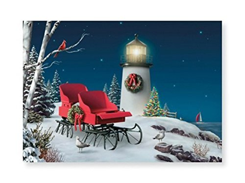 16 Christmas Cards and Envelopes, Oceanside Holiday with Red Sleigh (Lighthouse Christmas Cards)