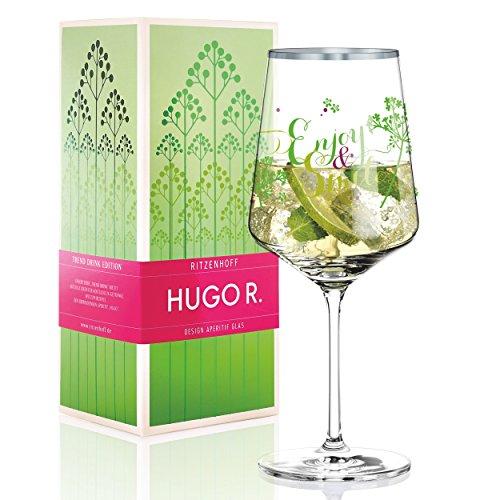 Ritzenhoff Kathrin Stockebrand R. Hugo Hugo Glass, Aperitif Glass, Crystal Glass, 600ml, with elegant Platinum Throw