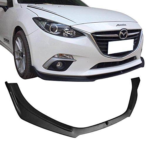 Front Bumper Lip Fits 2014-2017 Mazda 3 | V2 Style PP Unpainted Black Air Dam Chin Diffuser Lip By IKON MOTORSPORTS | 2015 2016 (Mazda 3 Sport Sedan)