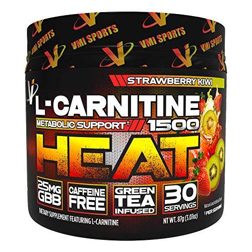 VMI Sports L-Carnitine 1500 Heat Powder, Extreme Fat Burner & Thermogenic Weight Loss Support, Improve Energy, Sweat & Fat Metabolism, Caffeine Free, Fat Burner for Men & Women, Strawberry Kiwi 30sv
