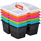Really Good Stuff Four-Compartment Caddies - Set of 6, Neon Pop Colors - Equal-Sized Compartments Perfect to Color-Code Tables or Group Work - Built-in Handles - Stackable for Easy Storage