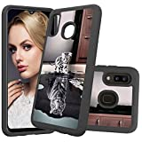 HMTECHUS Case for Galaxy A30 Printing Dual Layer Cloth PC Back TPU Border Shell Back Non-Slip Anti-Fall Shock Resistant Protection Slim Cover for Samsung Galaxy A20 / A30 Cloth 2 in 1 Cat Tiger YB