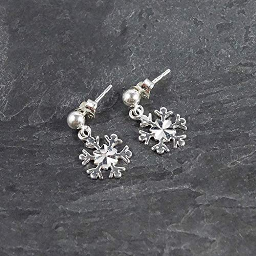 Sterling Silver Snowflake Dangle Earrings Jewelry Gift for Mom