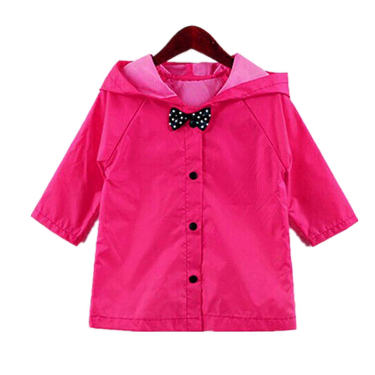 Yiluweinir Kids Raincoat with Bows Girl Boy Waterproof Hood Rain Jacket Outdoor Age 2-10 with Bag HZWS11-1-1