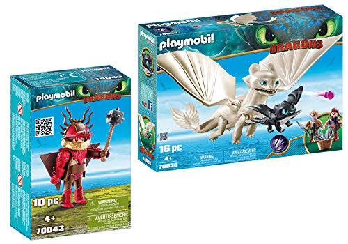 - PLAYMOBIL® Snotlout with Flight Suit and Light Fury with Baby Dragon and Children