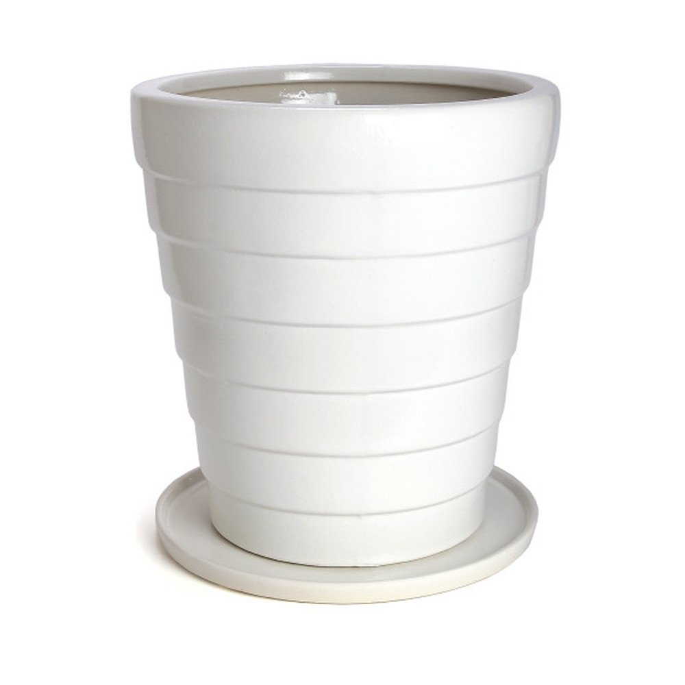 鉢 KANEYOSHI 陶器 10号 白 植木鉢 鉢カバー ホワイト L 【受皿付き】 B072KJTWN7 L (受皿付き)  L (受皿付き)