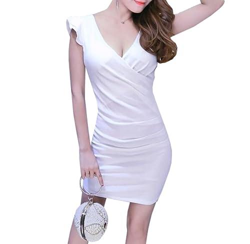 YueLian Aderente Vestito Mini Senza Maniche Colletto V Profondo