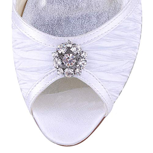 7 Prom Evening Party Handmade Sandali Dimensione 5 Gymz676 Da Pompe Qiusa White Flatfs Satin Uk colore Sposa Womens Scarpe RnqgnZw0