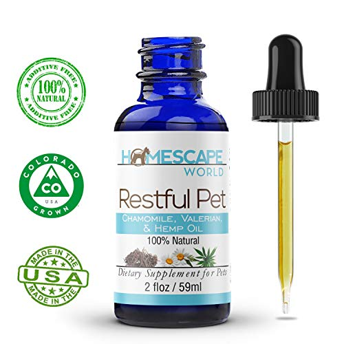 Hempseed Oil, Chamomile & Valerian for Dogs & Cats - RESTFUL PET- Anxiety Aid - Promotes Relaxation - for Stress, Fireworks, Thunder - Natural Calming Drops