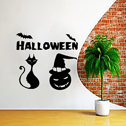 43SabrinaGill Halloween Wall Decals Pumpkin Decal Vinyl Sticker Cat Nursery Bedroom Kitchen Home Decor 36