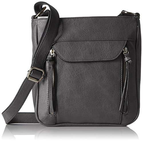 Bueno of California Zip Pocket Tech Cross Body with Phone Charger, Grey