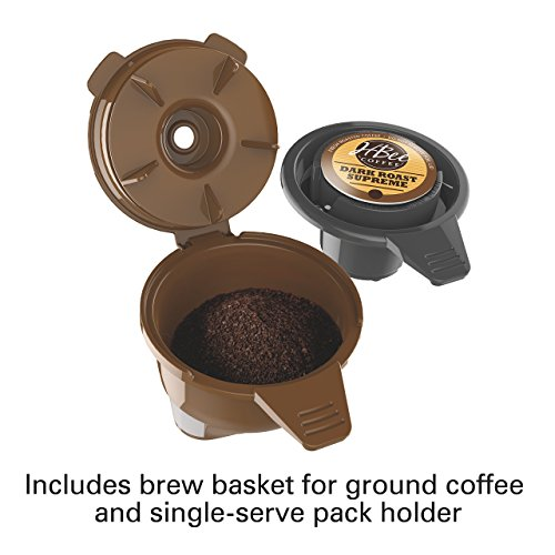 Hamilton Beach (49976) Coffee Maker, Single Serve & Full Coffee Pot,Compatible withK-Cup Packs or Ground Coffee, Programmable, FlexBrew, Black (Renewed)
