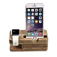 2 en 1 support Station d'accueil dock Station de chargement universelle en bambou pour Apple Watch & iPhone ,convient à 5 5S 5C 6 6 PLUS et Apple Watch 42mm & 38mm