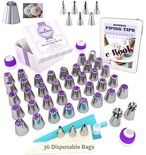 Cake&Deco Russian Piping Tips Set - 92pcs Cake Decorating Baking Supplies Kit with Gift Box for Storage - 49 Premium Russian Tulip Icing Piping Ruffle Nozzles - Cupcake Flower shaped frosting nozzles