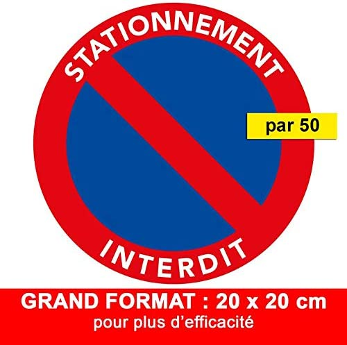 20 x 20 cm Labougitude Autocollants Stationnement Interdit