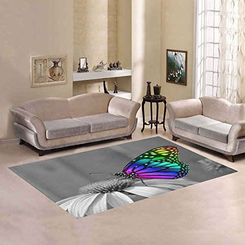 JC-Dress Area Rug Cover Colorful Butterfly On Flower Modern Carpet Cover 7'x5'
