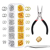 Paxcoo 1200Pcs Open Jump Rings and Lobster Clasps Jewelry Findings Kit with Pliers for Jewelry Making (Silver and Gold)