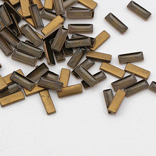 Beadsland Hotfix Iron On, 3x8mm Flat Back Rectangle Studs - 1/4 FlatBack Glue on Studs 100pcs (Bronze 3x8mm Rectangle)